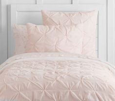 Pale Pink Bedding - would suggest white walls or light grey walls for this selection