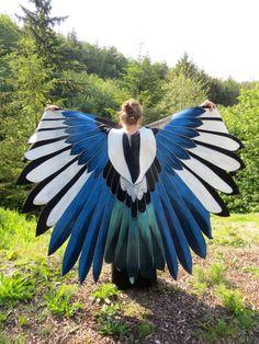 European Magpie Bluejay Custom Bird Wings Cloak Hand Painted