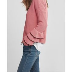 Express  Layered Ruffle Sleeve Pullover Sweater (39 CAD) ❤ liked on Polyvore featuring tops, sweaters, pink, pink pullover, ruffle sleeve top, long sleeve tops, wide neck sweater and ruffle sleeve sweater