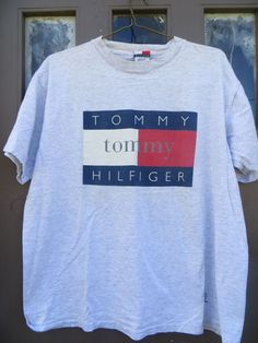 3bf22047 Classic Rare Unique grey Tommy Hilfiger Flag Logo Fragrance Tee Shirt size  XL all cotton USA made