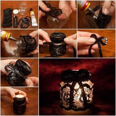 How to Make Lace Decorated Candle Holder step by step DIY tutorial instructions Lace Candles, Romantic Candles, Diy Candles, Candle Craft, Candle Holder Decor, Diys, Lace Mason Jars, Crafts With Pictures, Diy Photo