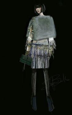 """Fringes&Mink"" Sketch | Stefania Belmonte | my collection | Fashion Illustration"