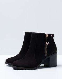 Bershka Bosnia and Herzegovina - BSK zipper detail heeled ankle boots