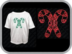 Double candy cane swirl monogram, candy cane monogram, swirly candy cane, double candy cane, monogram toddler, youth shirt. - pinned by pin4etsy.com