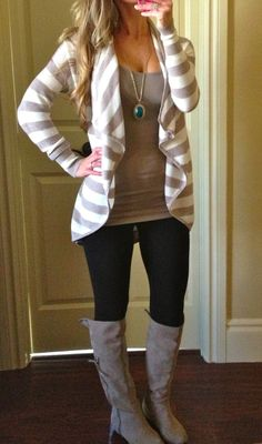 Forever 21 leggings, Old Navy Tami Tank (these are no longer available online, but if you find them in the store STOCK UP!!!! They are amazing! Express cardigan now on sale. Express Taupe Boots.