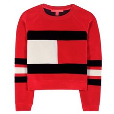 Tommy Hilfiger mytheresa.com Exclusive Flag Scuba Velvet Cropped... ($275) ❤ liked on Polyvore featuring tops, sweaters, shirts, jumpers, sweatshirts, red, velvet top, red top, red velvet shirt and red crop top