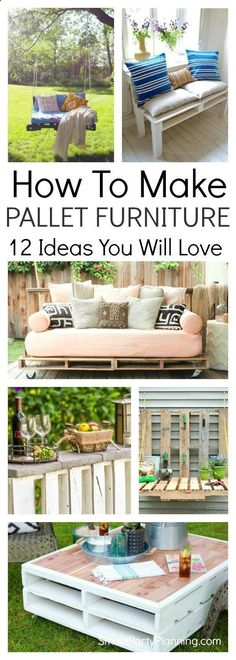 Learn how to make pallet furniture with these simple step by step tutorials. With all the indoor and outdoor furniture made from wood pallets these are all cost effective projects. Teach the kids some DIY and create a new masterpiece for the home. #diywoodprojectsforkids