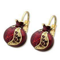Marina Gold Plated Pomegranate Fashion Earrings with Garnet Stones | Jewish Jewelry