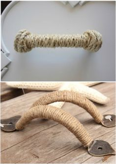 Cover damaged or mis-matched drawer handles with twine or rope for nautical, or just refreshed/cohesive look. PERFECT for the nautical bunk-room. Nautical Bedroom, Nautical Bathrooms, Nautical Home, Lace Bedroom, Nautical Kitchen, Nautical Interior, Nautical Knots, Coastal Interior, Nautical Style