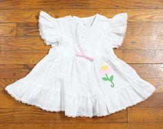 Vintage Toddler Girl Dress White Ruffle Cap Sleeve Flutter