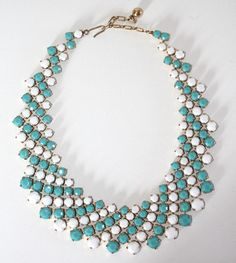 Vintage Trifari Necklace Glass Faux Turquoise White Pave Bid Collar   eBay Sold for $ 76