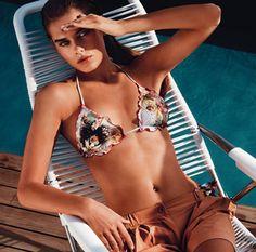 TWIN-SET Simona Barbieri: padded bandeau with appliquéd heart-shaped metal studs and boyshorts with logo on back
