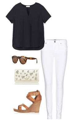 A fashion look from September 2015 featuring navy blue shirt, white jeans and leather shoes. Browse and shop related looks. Preppy Outfits, College Outfits, Preppy Style, Cute Outfits, My Style, Easy Casual Hairstyles, White Pants Outfit, Spring Work Outfits, Future Clothes