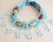 YEMENI  necklace aqua blue, turquoise,baby blue,light blue,multicolor, romance ,spring,mothers day