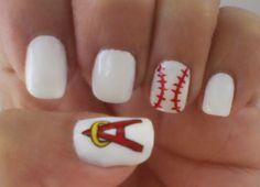 Anaheim Angels baseball nails... Very nice!