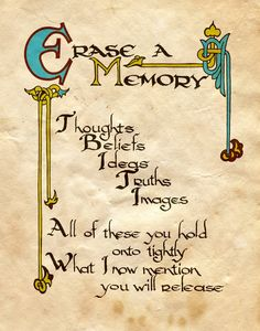 Book of Shadows page - Memory Erasing spell