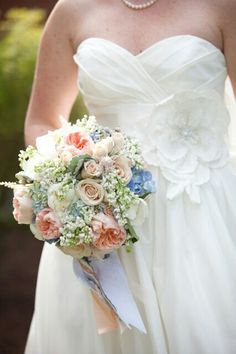 Very Pretty Pastel Round Bridal Bouquet Arranged With: Blue Hydrangea, Peach English Garden Roses, Cream Roses, White Spray Roses, White Lilac, Dusty Miller