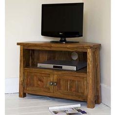 Khimsar Corner TV Unit (£259) Corner Tv Unit, Wooden Tv Stands, Home Entertainment, Living Room, Fair Trade, Furniture, Home Decor, Decoration Home, Room Decor