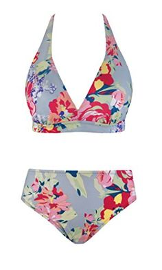 fd6b4dd545e Womens Sexy Halter Bikini Boho Floral Printed Two Piece Swimsuits With  Triangle Bikini Top - Light Blue - Clothing, Swimsuits & Cover Ups,  Bikinis, Sets