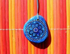 "Hand-painted stone necklace ""Mandala Flower"""