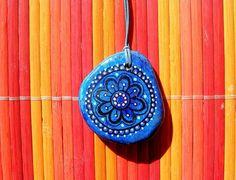 """Hand-painted stone necklace """"Mandala Flower"""""""