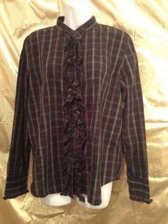 CHAPS Blouse Shirt Top Plaid Ruffles Preppy Geek Chic Style Maven Size XL