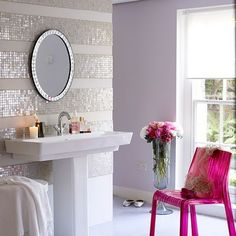 Love the striping effect with the tile! Super glam!
