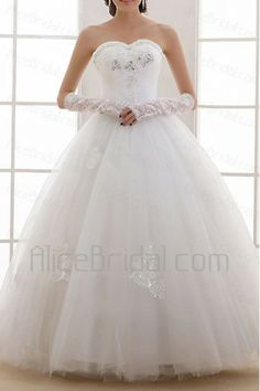Organza Sweetheart Floor Length Ball Gown Wedding Dress with Sequins - Alice Bridal