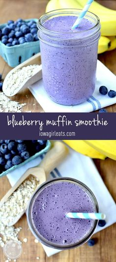 Skip the muffin and drink a healthy, gluten-free Blueberry Muffin Smoothie that tastes like one instead! #glutenfree | iowagirleats.com:
