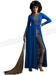 #Designer pakistani suits #Blue#Indian Wear #Desi Fashion #Natasha Couture #Indian Ethnic Wear # Salwar Kameez #Indian Suit