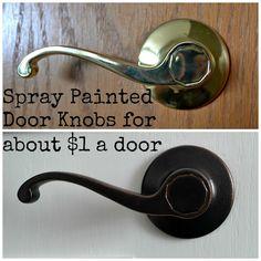 diy spray painted doorknobs ugly brass to beautiful oil rubbed bronze, doors, painting Oil Rubbed Bronze, Painted Doors, Diy Spray Paint, Home Improvement, Diy Sprays, Door Makeover, Slab Door, Brass Door, Home Diy