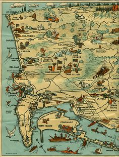 The left side of the second foldout of a vintage map of San Diego.  My scanner wasn't large enough to include the entire second foldout at once.  The map is not dated but, based on the other papers it was with, I would guesstimate that it is from ca. 1941-1952.