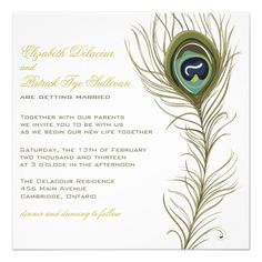 Elegant Peacock Feather Wedding invivation Custom Announcement  Click on photo to purchase. Check out all current coupon offers and save! http://www.zazzle.com/coupons?rf=238785193994622463&tc=pin