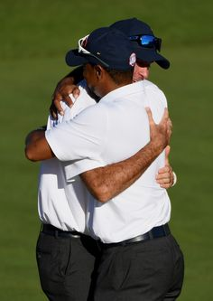 Vice-captains Bubba Watson and Tiger Woods of the United States celebrate after winning the Ryder Cup during singles matches of the 2016 Ryder Cup at Hazeltine National Golf Club on October 2016 in Chaska, Minnesota. Chaska Minnesota, Ryder Cup, Fist Bump, October 2, Tiger Woods, Photo On Wood, Golf Clubs, Cool Pictures, United States