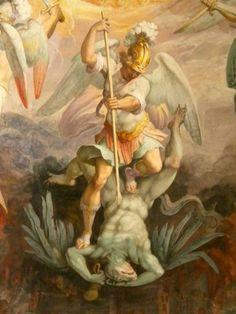 Seven Devils Giorgio Vasari and Federico painting on ceiling of Saint Pius V Giorgio Vasari, Renaissance Kunst, Renaissance Paintings, Religious Paintings, Religious Art, Archangel Michael Tattoo, St. Michael, Saint Michael, Angel Artwork