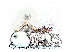 Amaterasu and Issun, rolling a snow ball! Okami!
