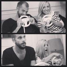 I love this pic of Gustaf Skarsgård and Maude Hirst ::: Vikings' Floki Helga.
