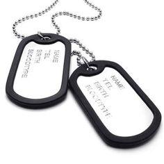 Pendentif Homme – Chaîne 68 cm – Plaque militaire Nom Prénom – Dog Tag – Style Militaire Armée – pour Homme et Femme – Couleur Noir Argent – Avec Sac Cadeau – F20696