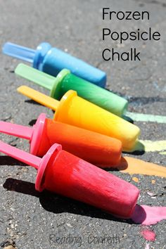 DIY - easy Frozen Popsicle Chalk - mostly they wanted to eat it - also, the chalk does work at first then melts all at once so they didn't have much time to explore with this - might be good for kids with a patient temperament