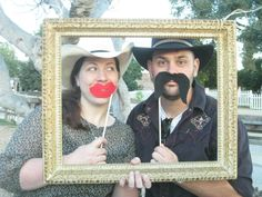 Western Party photo op- used the frame and mustache idea. Kids and adults had fun