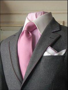 pink tie - grey suit