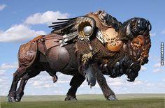 Incredible Buffalo Sculpture in North Dakota - MemePix