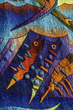 """Tapestry Detail, """"Five Manta Ray Fish"""", Handwoven Tapestry by Peruvian Artist Maxmio Laura, 39 x 62 in /// US$ 2,980, shipping included"""