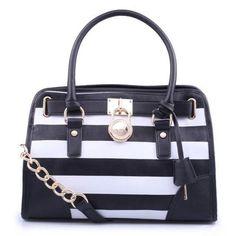 #fashion #style Michael Kors Hamilton Striped Lock Medium Black Totes...yes please!!! This is my next purchase!