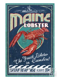 Camden, Maine - Lobster Art Print by Lantern Press at Art.com.