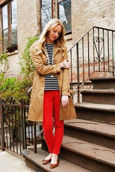 Navy sailor top + red skinny jeans + khaki trench