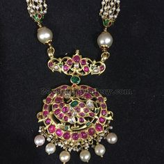 Ruby Peacock Pendant with Pearls Chain - Jewellery Designs