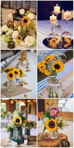 how to have a great rustic wedding, use these sunflower wedding centerpieces, sp. how to have a great rustic wedding, use these sunflower wedding centerpieces, spring fall wedding idaes. Sunflower Wedding Centerpieces, Wedding Table Centerpieces, Wedding Bouquets, Table Decorations, Sunflower Arrangements, Sunflower Decorations, Centerpiece Ideas, Rustic Sunflower Weddings, Centerpiece Flowers