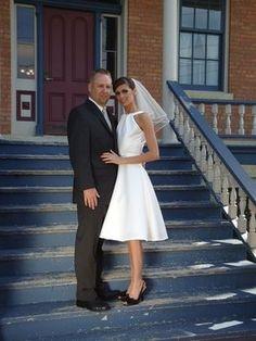 Tea-length wedding dress, size 6, $100