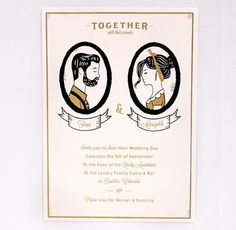 Wedding Invitation  Custom Silhouettes by ElloThere on Etsy, $150.00